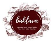 Ensemble de baklava turque tirée par la main de dessert de vecteur Image libre de droits
