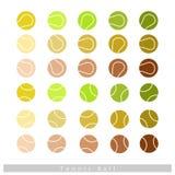 Ensemble de balles de tennis sur le fond blanc Images stock
