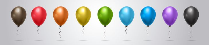 Ensemble de ballon coloré d'hélium sur Grey Background Horizontal Banner Photo libre de droits