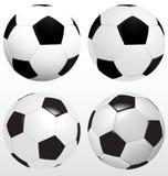 Ensemble de ballon de football, vecteur du football sur le fond blanc, sport Image libre de droits