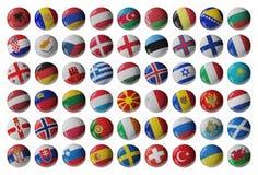 Ensemble de ballons de football de l'Europe Photographie stock libre de droits