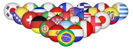 Ensemble de ballons de football traçant avec des drapeaux de pays Photo stock