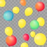 Ensemble de ballons de partie sur le fond transparent Illustration réaliste colorée différente de vecteur de ballons Photo stock