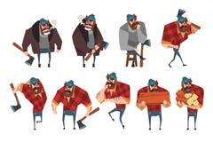 Ensemble de bande dessinée de bûcheron dans différentes actions Bûcheron avec la hache Homme barbu fort dans la chemise de plaid  illustration libre de droits