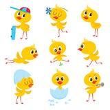 Ensemble de bande dessinée de caractère mignon de poulet de bébé de Pâques illustration stock