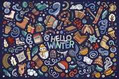 Ensemble de bande dessinée d'objets de saison d'hiver illustration de vecteur