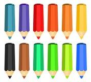 Ensemble de bande dessinée de crayons en bois colorés Photographie stock libre de droits