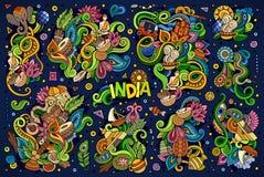 Ensemble de bande dessinée de griffonnage de vecteur de conceptions indiennes illustration stock