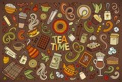 Ensemble de bande dessinée de griffonnage de vecteur de thé et de coffe illustration de vecteur