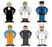 Ensemble de bande dessinée de personnes de différentes professions Photos stock