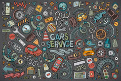 Ensemble de bande dessinée de vecteur d'objets d'automobile illustration libre de droits