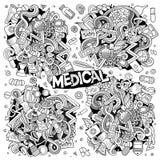 Ensemble de bande dessinée de vecteur de conceptions médicales de griffonnages Photo libre de droits