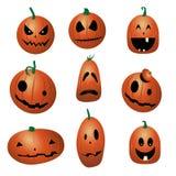 Ensemble de bande dessinée drôle de potirons de Halloween images stock