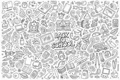 Ensemble de bande dessinée de griffonnage de vecteur d'objets et de symboles d'école Photo stock