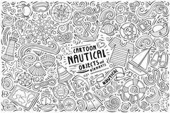 Ensemble de bande dessinée de griffonnage de vecteur d'objets nautiques illustration stock