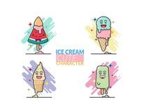 Ensemble de bande dessinée mignonne créative de cornet de crème glacée et de barre illustration de vecteur