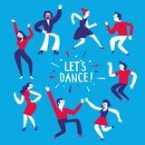 Ensemble de bande dessinée de personnes de danse illustration libre de droits