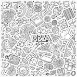 Ensemble de bande dessinée de vecteur d'objets et de symboles de pizzeria Image libre de droits