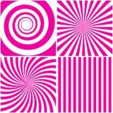 Ensemble de bande rose à la mode de rayons de spirale de fond Photos stock