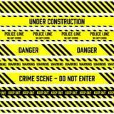 Ensemble de bandes sans couture de vecteur employées par la police pour la restriction et les zones dangereuses Rayures jaunes et illustration libre de droits
