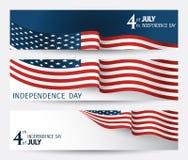 Ensemble de bannière au Jour de la Déclaration d'Indépendance des USA images stock