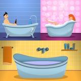 Ensemble de bannière de baignoire de douche, style de bande dessinée illustration libre de droits