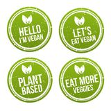 Ensemble de bannière de bouton d'insigne de Vegan Vecteur Eps10 Images libres de droits
