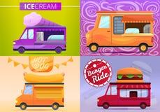 Ensemble de bannière de camion de nourriture, style de bande dessinée illustration stock
