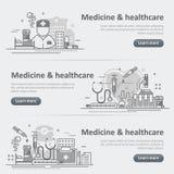 Ensemble de bannière début de Web de service de médecine et de soins de santé Image libre de droits
