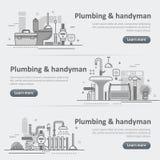 Ensemble de bannière début de Web de service de tuyauterie et de bricoleur Image stock