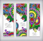 Ensemble de bannière décorative de calibre de fleur Photos libres de droits