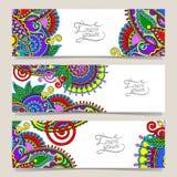 Ensemble de bannière décorative de calibre de fleur, carte, Images stock