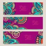 Ensemble de bannière décorative de calibre de fleur, carte, Photo stock