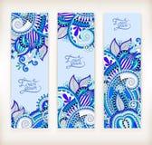 Ensemble de bannière décorative de calibre de fleur, carte, web design avec Images libres de droits
