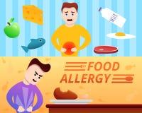Ensemble de bannière d'allergie alimentaire, style de bande dessinée illustration stock