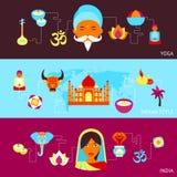 Ensemble de bannière d'Inde illustration de vecteur