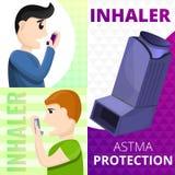 Ensemble de bannière d'inhalateur d'asthme, style de bande dessinée illustration stock