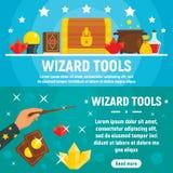 Ensemble de banni?re d'outils de magicien, style plat illustration libre de droits