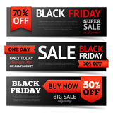 Ensemble de bannière de Black Friday Photos stock