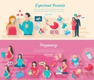 Ensemble de bannière de grossesse illustration libre de droits