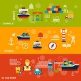 Ensemble de bannière de port maritime Images stock