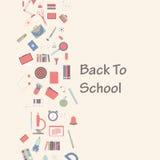 Ensemble de bannière de vecteur de fournitures scolaires, de nouveau au concept d'école illustration stock