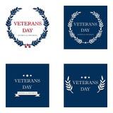 Ensemble de bannière des Etats-Unis de vétéran de jour, illustration de vecteur plate, texte Photo stock