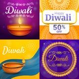Ensemble de bannière de Diwali, style de bande dessinée illustration stock