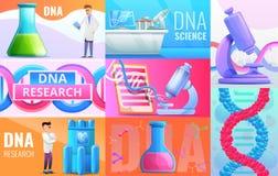 Ensemble de bannière de génie génétique, style de bande dessinée illustration de vecteur