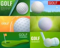 Ensemble de bannière de golf, style de bande dessinée illustration stock