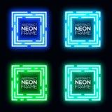 Ensemble de bannière de place de lampe au néon Cadre brillant de techno Photo libre de droits