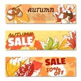 Ensemble de bannière de vente d'automne Photo stock