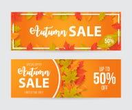 Ensemble de bannière de vente d'automne avec des feuilles illustration libre de droits