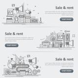 Ensemble de bannière de Web d'immobiliers de vente et d'organisme de service de loyer Photos libres de droits